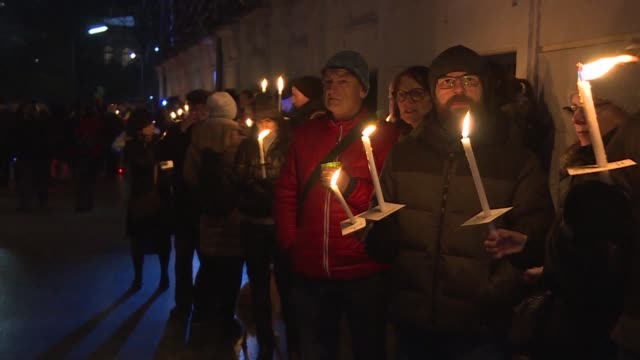 Several thousand people holding candles gather around the Ministry area of Vienna to warn against the arrival of right wing extremists in government...