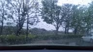 A severe thunderstorm warning has been issued for northwestern Los Angeles County northern Ventura County Shots out of a car window and closeup of a...