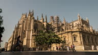 Sevilla giralda cathedral timelapse at mid day moving shadows