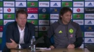 further allegations emerge Cobham INT Steve Atkins taking seat at press conference with Chelsea Manager Antonio Conte/ Steve Atkins press conference...