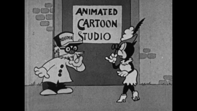 A sexy cat gains access to a heavily guarded animation studio