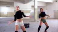 Sexy dancers practicing