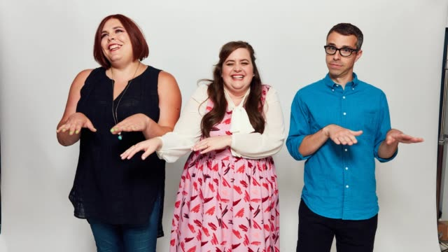 Shadi Petosky Aidy Bryant and Eric Knobel pose for a portrait gif at the 2017 ComicCon Portrait Studio at Hard Rock Hotel San Diego on July 22 2017...