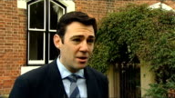 Andy Burnham interview ENGLAND Manchester EXT Andy Burnham MP speaking to press SOT Very nice to win an election at last after losing a more...