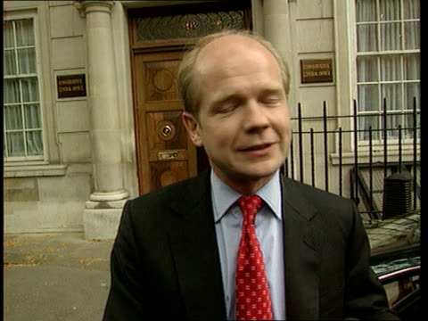 ITN ENGLAND London Smith Square Conservative Central Office William Hague MP out of building speaks to press it will be a team that can hold the...