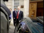 London Smith Square Conservative Central Office William Hague MP out of building to speak to press William Hague MP speaks to press we're going to...