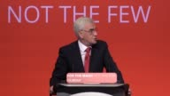 Shadow Chancellor of the Exchequer John McDonnell addresses the Labour Party Conference in Brighton He says Labour aims to scrap the pay cap and will...