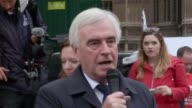 Shadow Chancellor of the Exchequer John McDonnell gives a speech to protesters at the first Mcdonald's strike in the UK He goes on to discuss what...