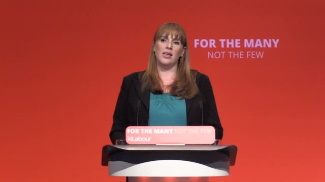 Shadow Education Secretary Angela Rayner addresses the Labour Party Conference in Brighton She discusses the Labour party's policies on education...