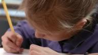 Shaky close up girl writing with head down/ Goram, Maine
