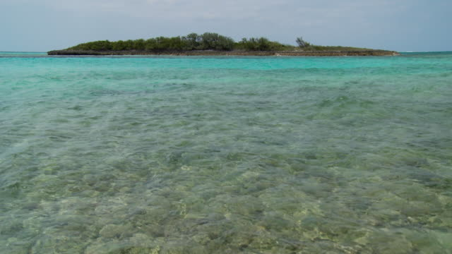 MS, TU, Shallow water with island in distance, Abaco Islands, Bahamas