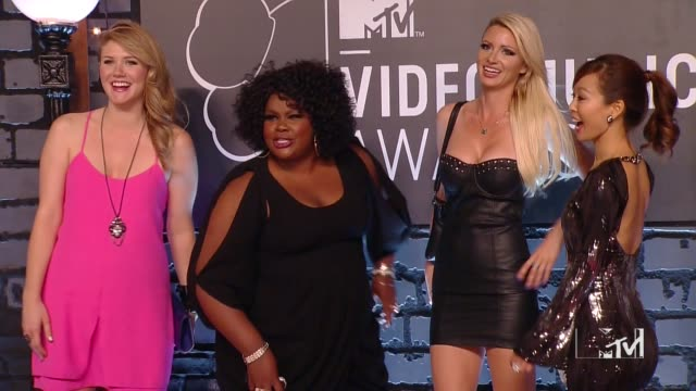 Shalyah Evans Nicole Byer April Rose and Esther Ku of 'Girl Code' at 2013 MTV Video Music Awards Red Carpet at Barclays Center of Brooklyn on August...