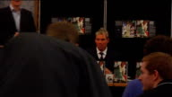 press conference and book signing *Picture and sound quality as recorded* ENGLAND London PHOTOGRAPHY *** Shane Warne sitting down for book launch...