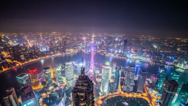 Shanghai aerial view time lapse zoom in