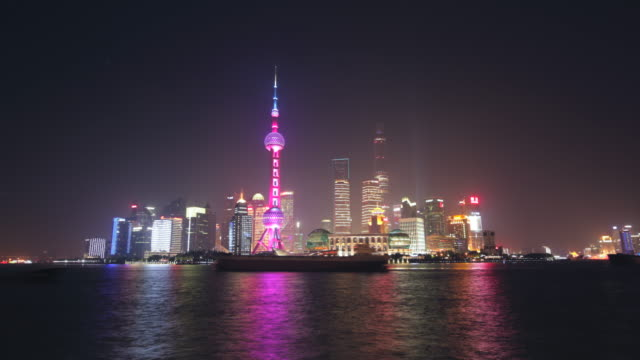 WS TL Shanghai city at night with Huangpu River