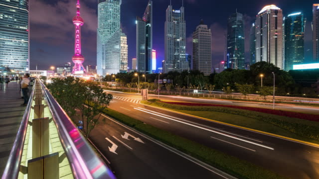 T/L Shanghai financiële wijk landmark's nachts