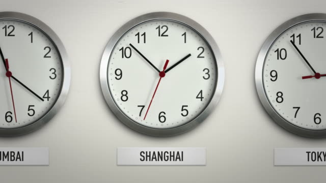 Shanghai international time zone wall clock with 12 hour loop
