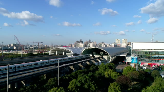Shanghai magnetic levitation (maglev) train departure for Pudong airport