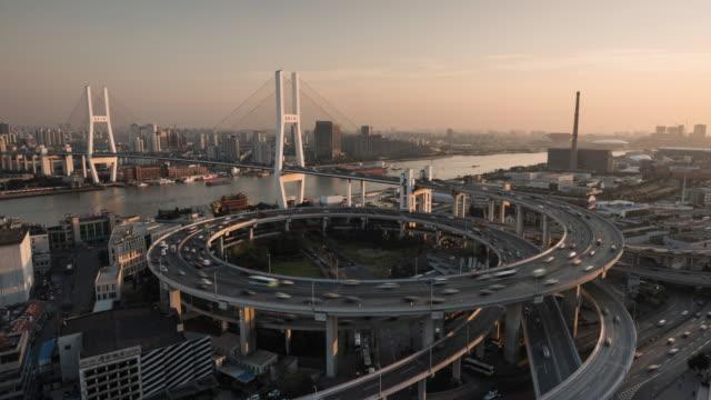 Shanghai, Nanpu bridge at dusk