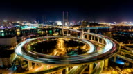 Shanghai Nanpu Bridge at Night - Timelapse Pan