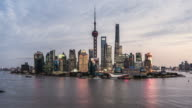 Shanghai skyline and Huangpu river at dusk, showing Pudong