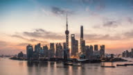 Shanghai skyline and Huangpu river at sunrise, showing Pudong