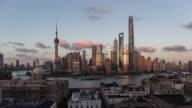 Shanghai skyline at dusk