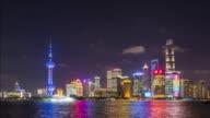 T/L Shanghai skyline at night, China