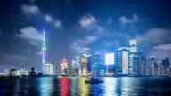 T/L WS PAN Shanghai Skyline at Night / Shanghai, China