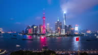 T/L MS HA Shanghai Skyline Day to Night Transition / Shanghai, China