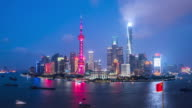 T/L MS HA ZI Shanghai Skyline Day to Night Transition / Shanghai, China