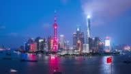 T/L MS HA ZO Shanghai Skyline Day to Night Transition / Shanghai, China
