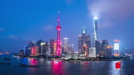 T/L MS HA PAN Shanghai Skyline Day to Night Transition / Shanghai, China