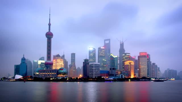 Shanghai Skyline from Dusk to Night