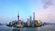 Shanghai Skyline In Dramatic Sky from Day to Night