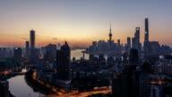 T/L WS HA PAN Shanghai Skyline Night to Day Transition / Shanghai, China