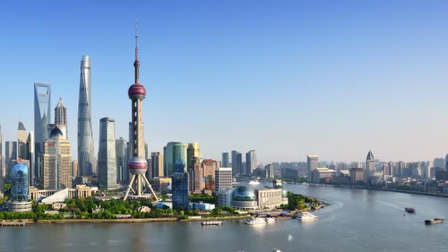Shanghai Skyline (Time-lapse, Panning)