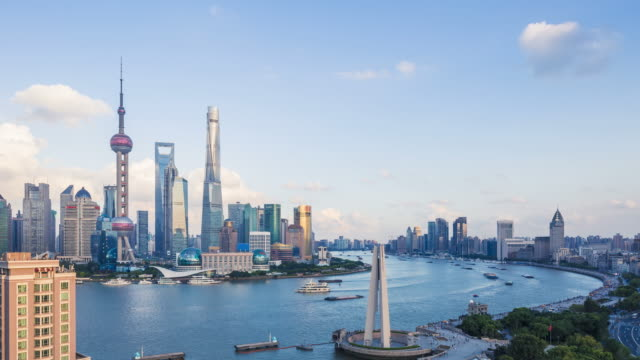 Shanghai world financial district in China