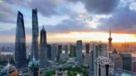 4K: Shanghai's Lujiazui Panoramic Landscape at Sunset, China
