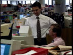 London James Capel Traders sat at computers in dealing room Adam Cole intvwd People should not panic/ look to long term