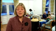 Sharon Caratella interview SOT Elderly woman drinking tea in care home Reporter to camera Elderly care home residents having afternoon tea assisted...