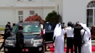 Sheikh Tamim bin Hamad Al Thani Emir of Qatar is welcomed by Kenyan President Uhuru Kenyatta with an official ceremony at Nairobi State House in...