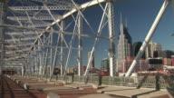 MS, PAN, Shelby Street pedestrian bridge and downtown skyline, Nashville, Tennessee, USA