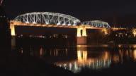 T/L, WS, Shelby Street pedestrian bridge illuminated at night, Nashville, Tennessee, USA