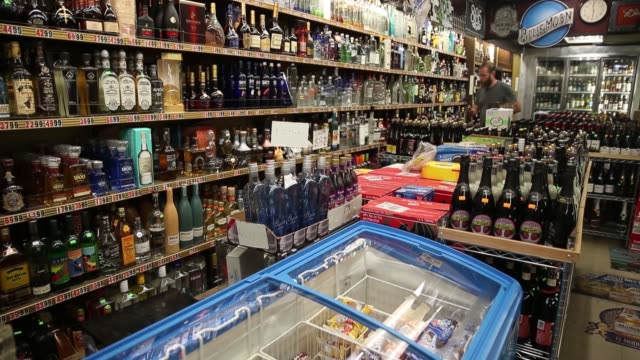 Shelves of liquor are displayed for sale at a liquor store in Los Angeles California US on Thursday June 22 2017