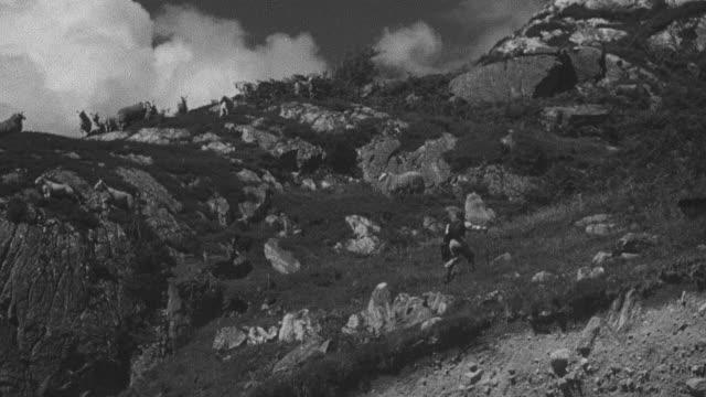 1944 MONTAGE Shepherd and his dogs tending sheep on mountainous terrain / Archriesgill, Scotland, United Kingdom
