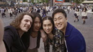 Shibuya Crossing Intersection Selfie Friends Slow motion Tokyo Japan.