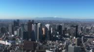 shinjuku buildings and M't fuji Aerial view