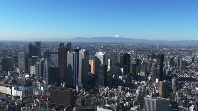 shinjuku buildings and M't fuji Aerial view