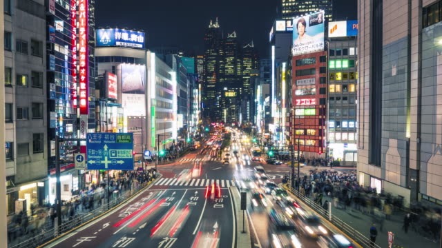 Shinjuku-Tokio-Zeitraffer in der Nacht